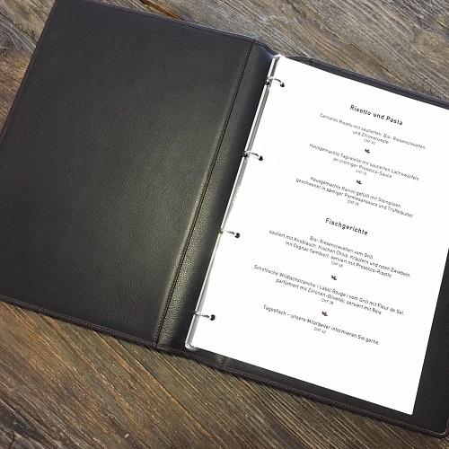 Menukarte Restaurant Büner - realisierter Kundenwunsch